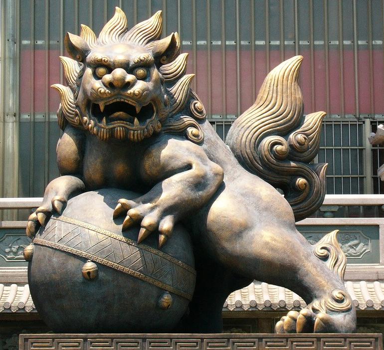 The art of dragon dog statue