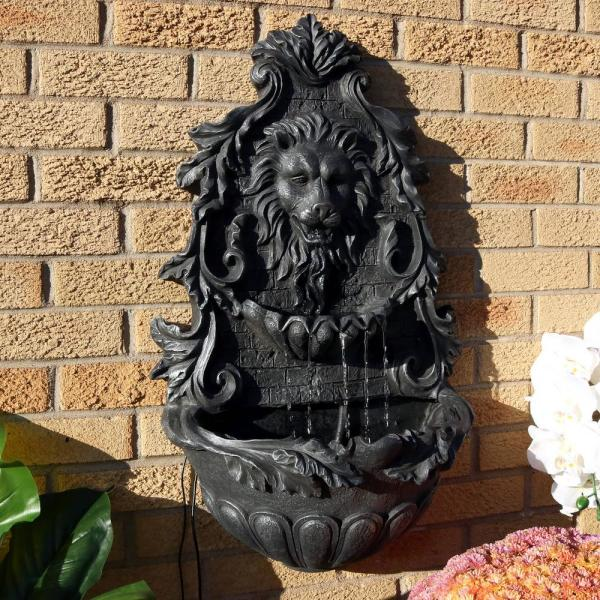 fountain, lion statues for front porch