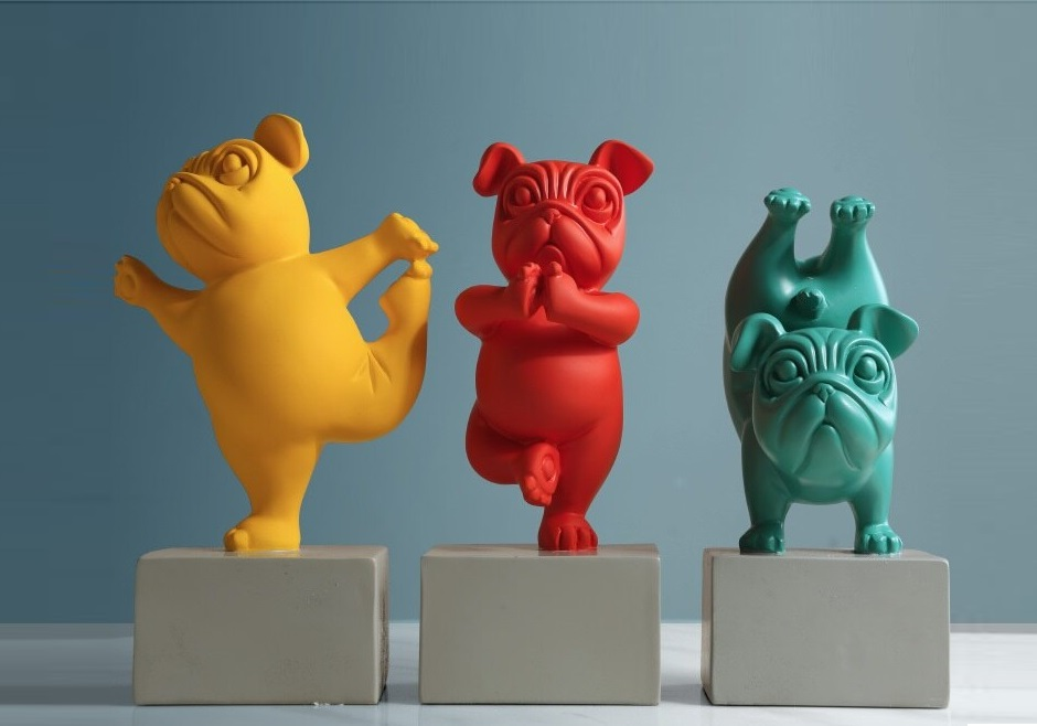Home Creative French Bulldog Yoga Resin Statue For Sale