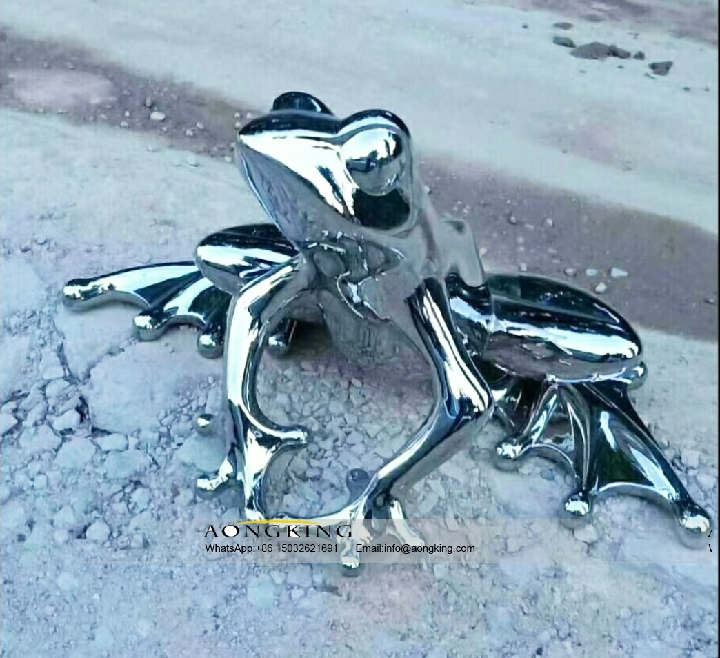 Abstract Animal Modern Art Frog Stainless Steel Sculpture