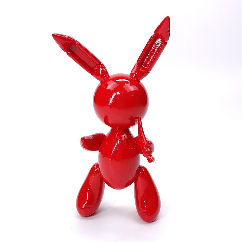 Giant Famous Red Balloon Rabbit Fiberglass Statue