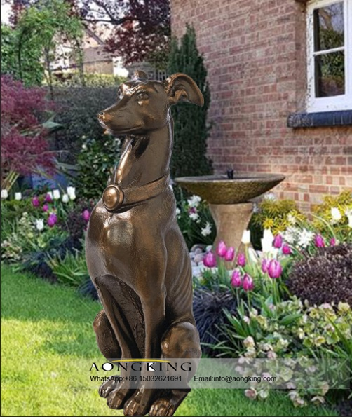 A Sitting Happy Bronze Good Breed Dog Decoration Statue