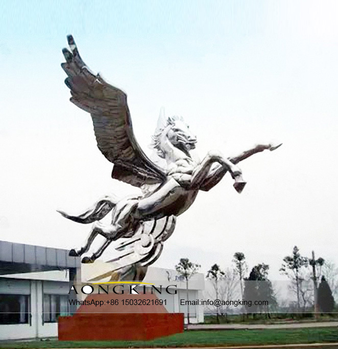 Outside Popular Stainless Steel Animal Huge Horse Sculpture With Wings