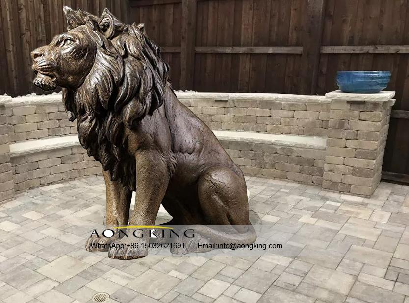 Modern art of large brass lion statue