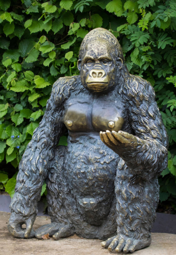 Bronze Outdoor Life Size Large Garden Gorilla Sculpture