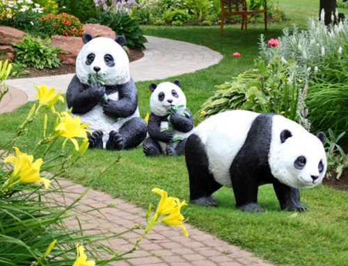 Garden Animal Ornament Large Panda Family Resin Sculpture