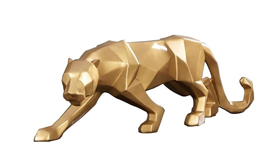 Best Selling Golden Leopard Fiberglass Statue For Home Ornament