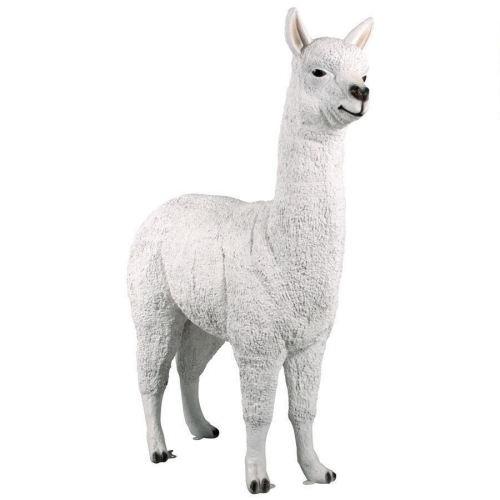 Cute Animal Decoration Life Size White Llama Resin Statue