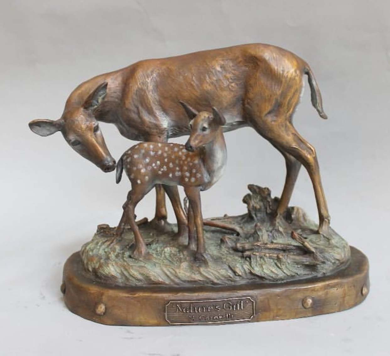Home Yard decoration Cast Bronze loving bronze Sika deer statue