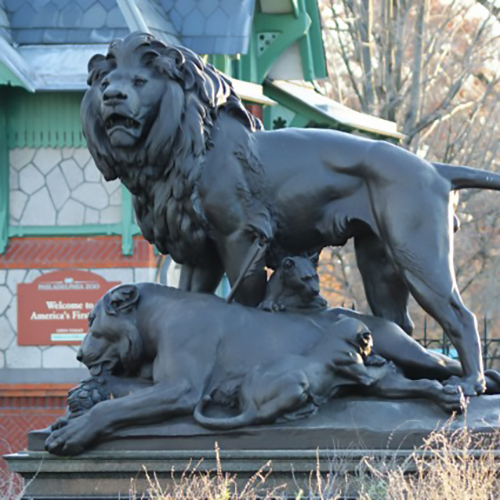 Bronze Large Outdoor Male Lion Dying Lioness Sculpture