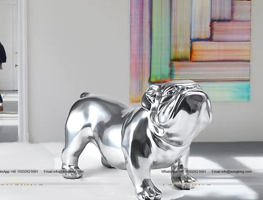 Home Yard Decoration metal Stainless Steel bulldog sculpture