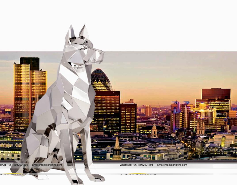 Best Selling modern art design Sitting Stainless Steel dog statue