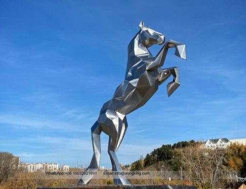 Customized Attractive Modern Metal Standing Horse Stainless Steel Sculpture
