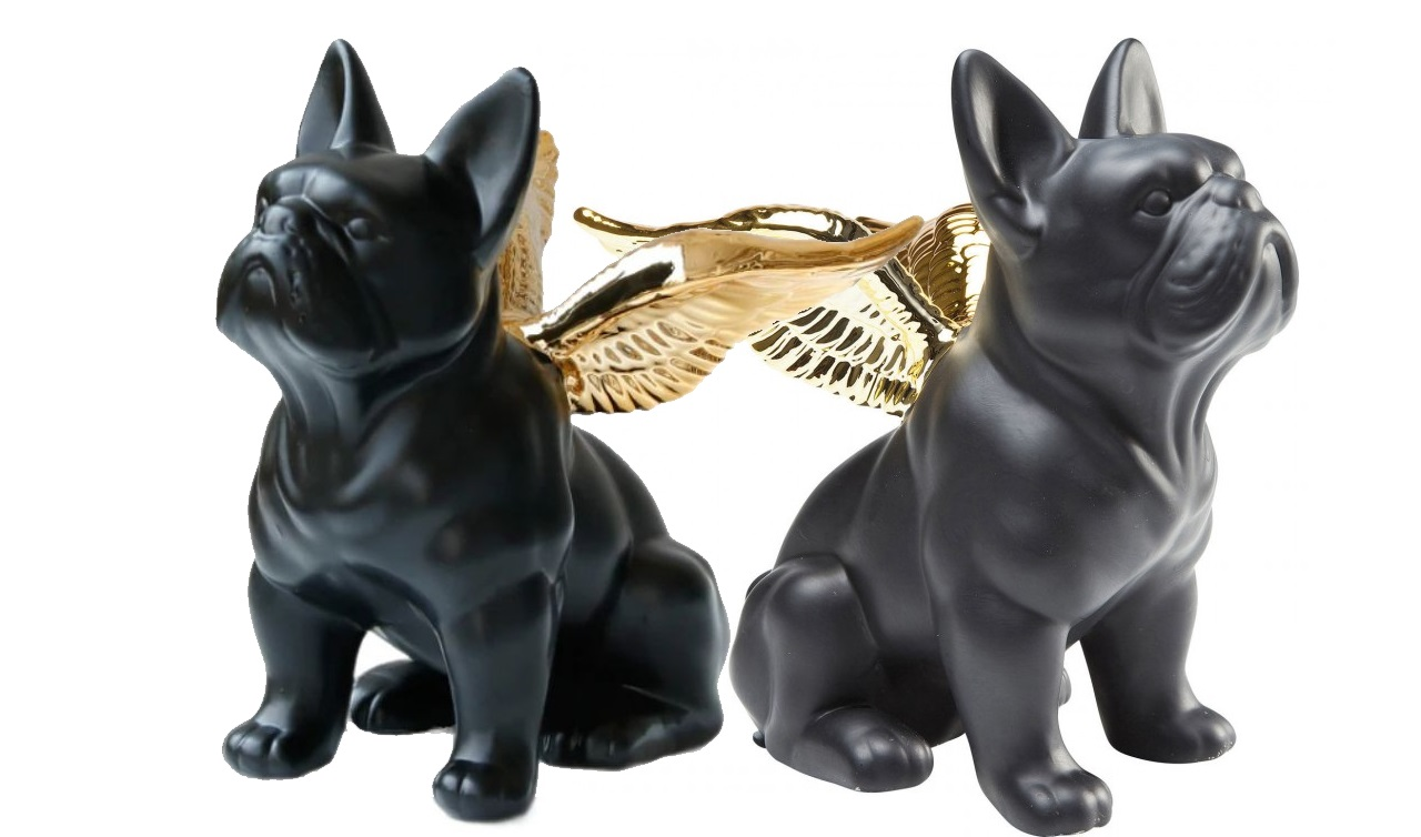 Modern Home Ornament Pair of Black French Bulldog With Wings Resin Statue