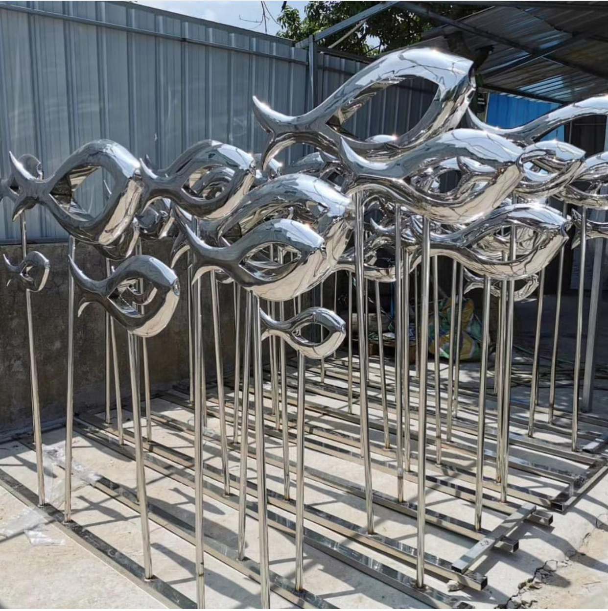 Outdoor Decoration Stainless Steel Fish statues