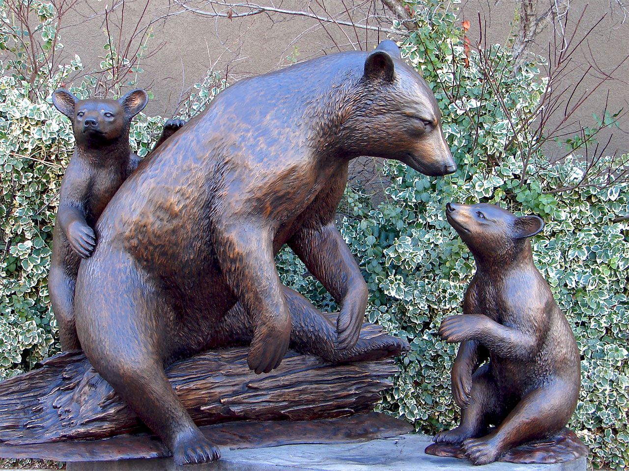 Family Bronze Outdoor Large Bears for Decor