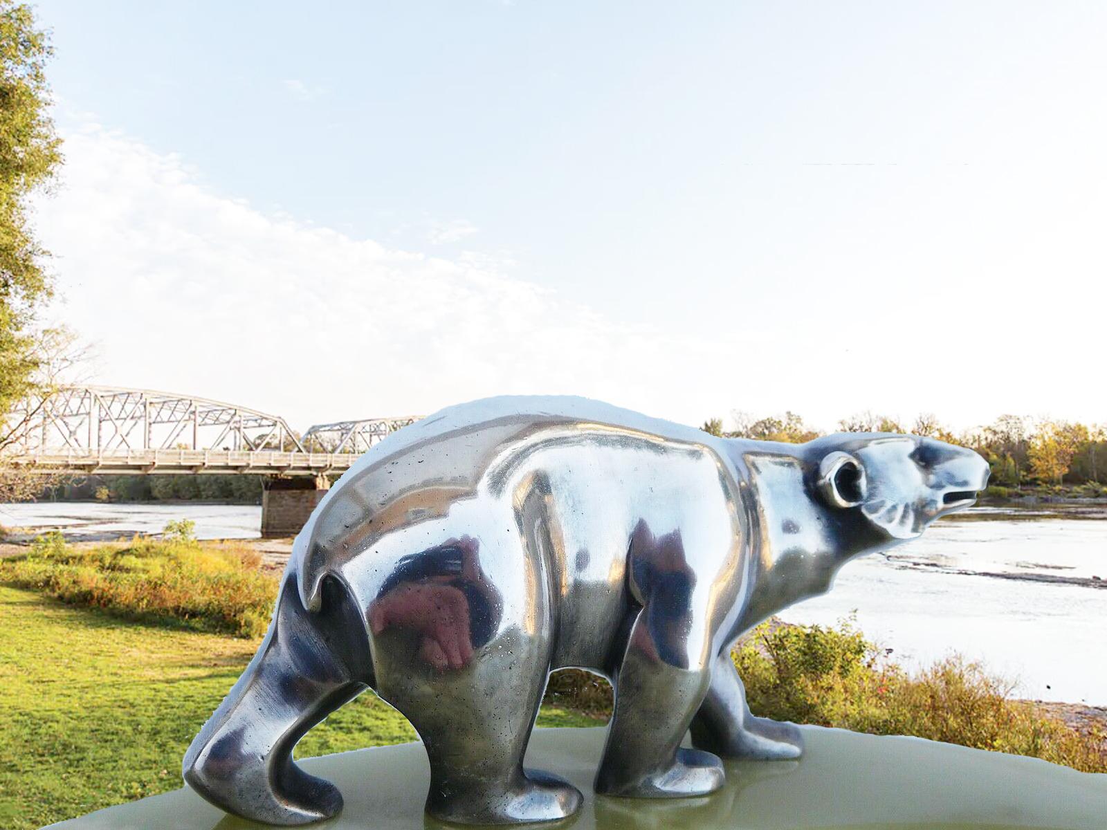 Popular High Quality Polar Bear Garden Stainless Steel Sculpture