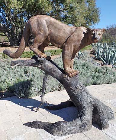 Large Life Size Outdoor Garden Bronze Puma Animal Statue