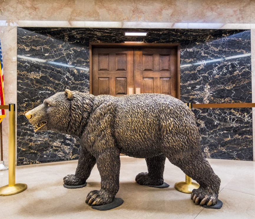 Large Life Size Running Brass Bear Statue for Front Porch