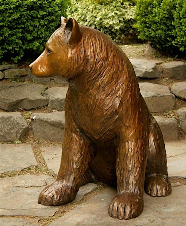 Large Outdoor Bronze Sitting Life Size Bear Statue