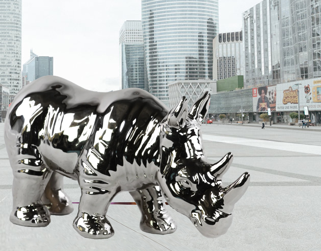 Animal stainless steel decoration rhinoceros statue For Sale