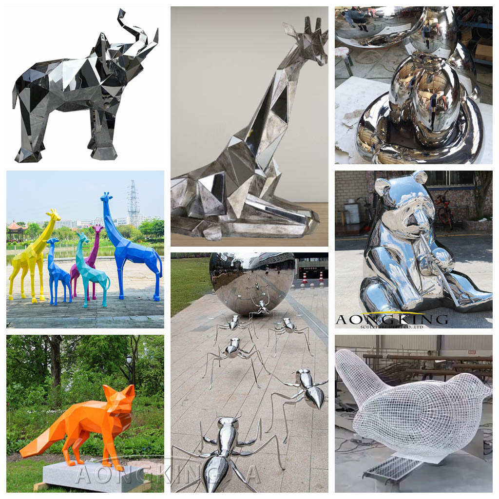 stainless steel garden animals sculpture