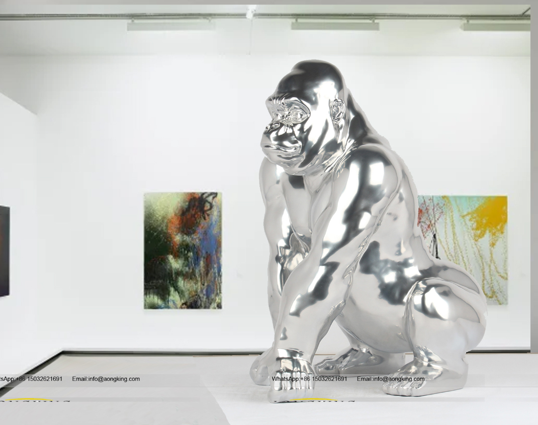 Indoor Popular Animal stainless steel king kong sculpture