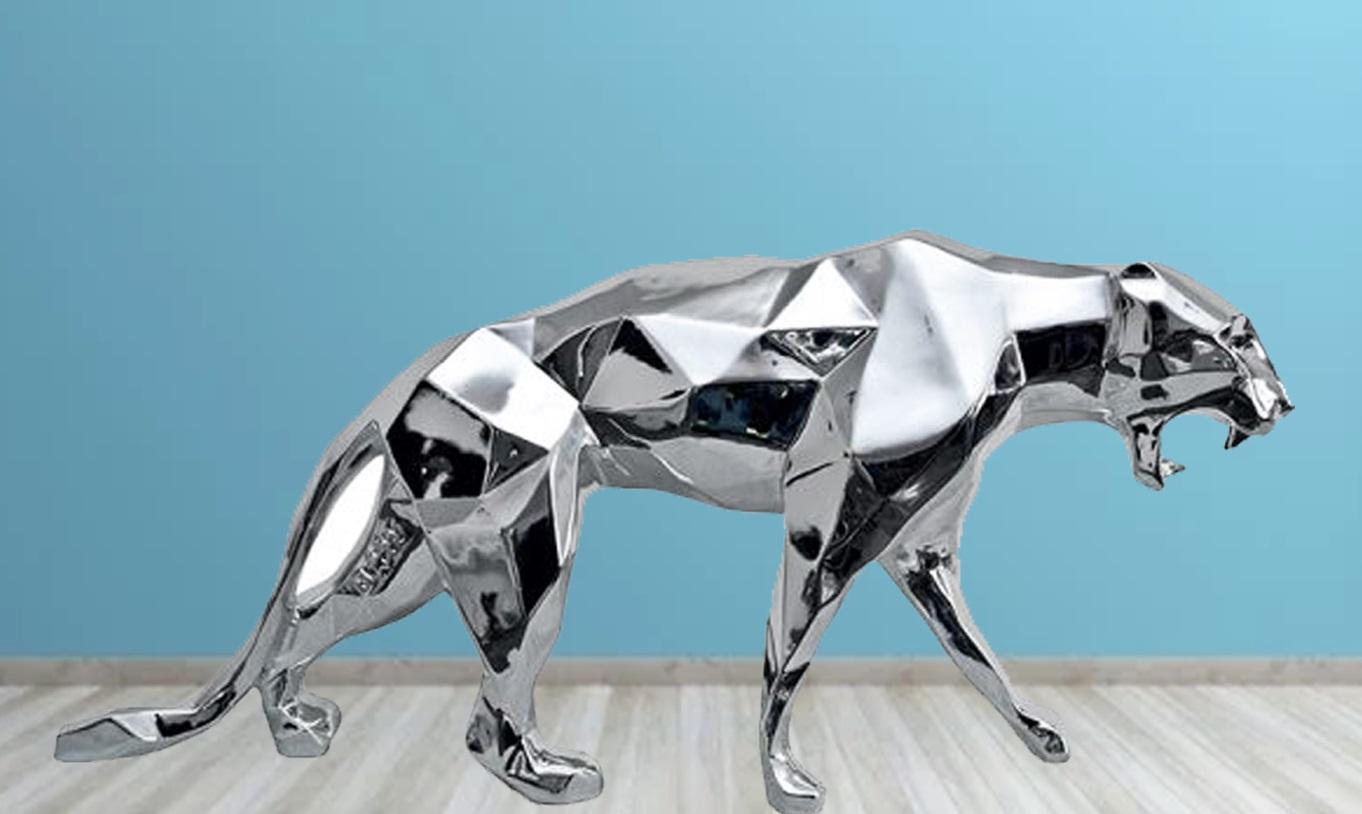 Indoor Art Animal Metal Walking Leopard Stainless Steel Sculpture