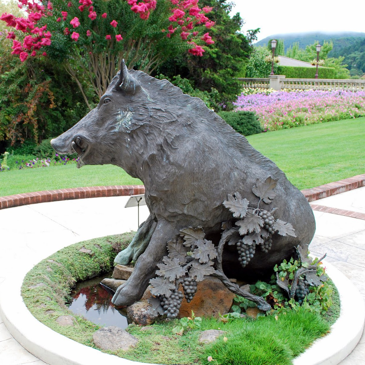 Large Outdoor Bronze Wild Boar Garden Ornament Sculpture