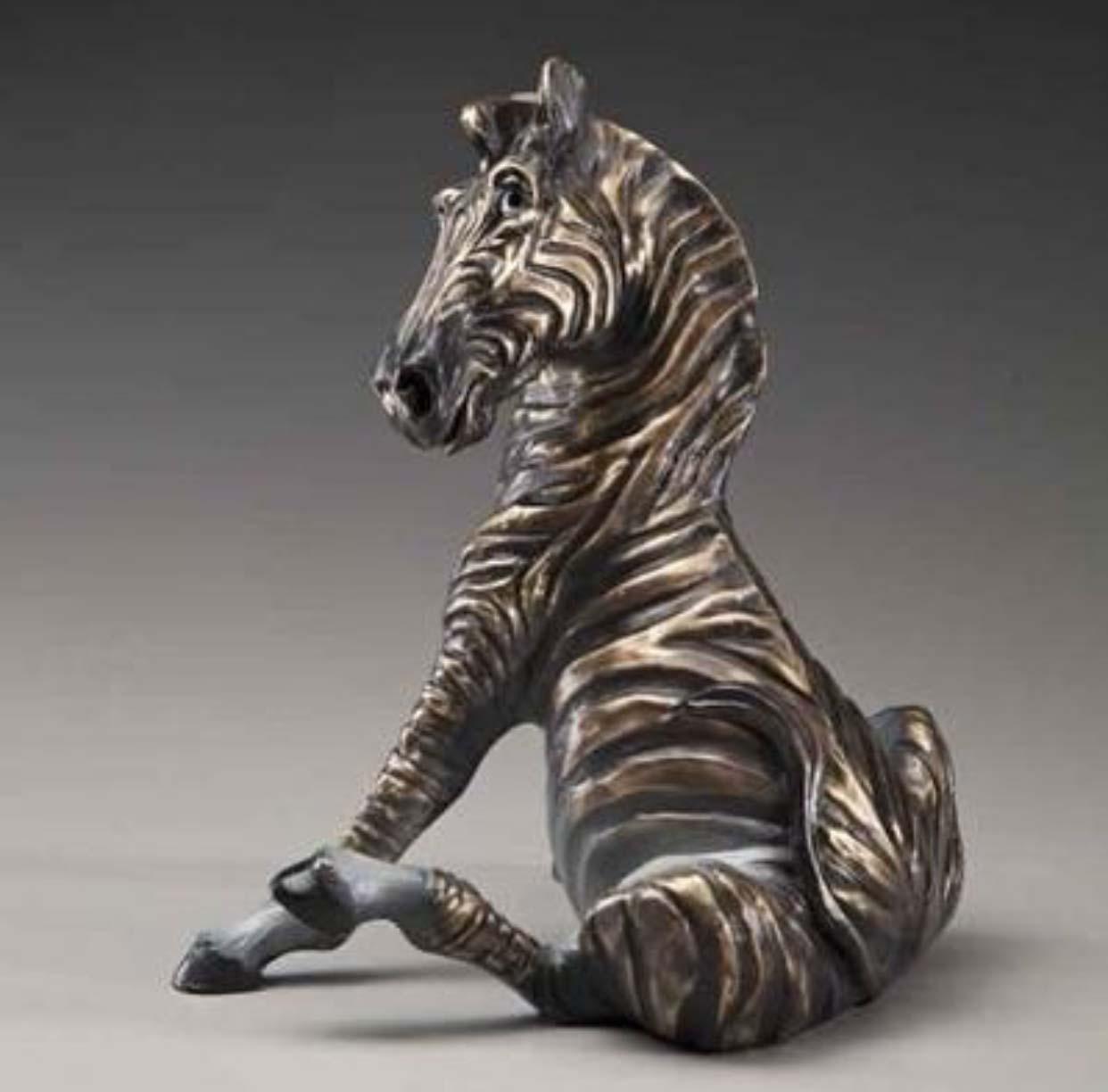Life Size Park Animal Decoration Bronze zebra statue