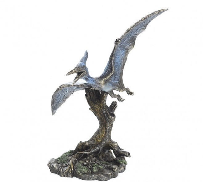 Pterodactylus Winged finger Dinosaur Bronzed Statue