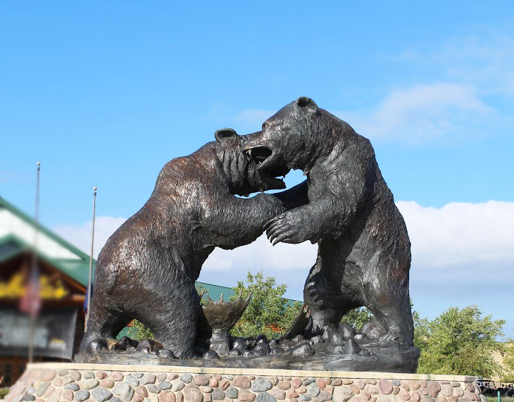 Bronze Large Outdoor Wildlife Animals Sculpture of Dispute of Bear