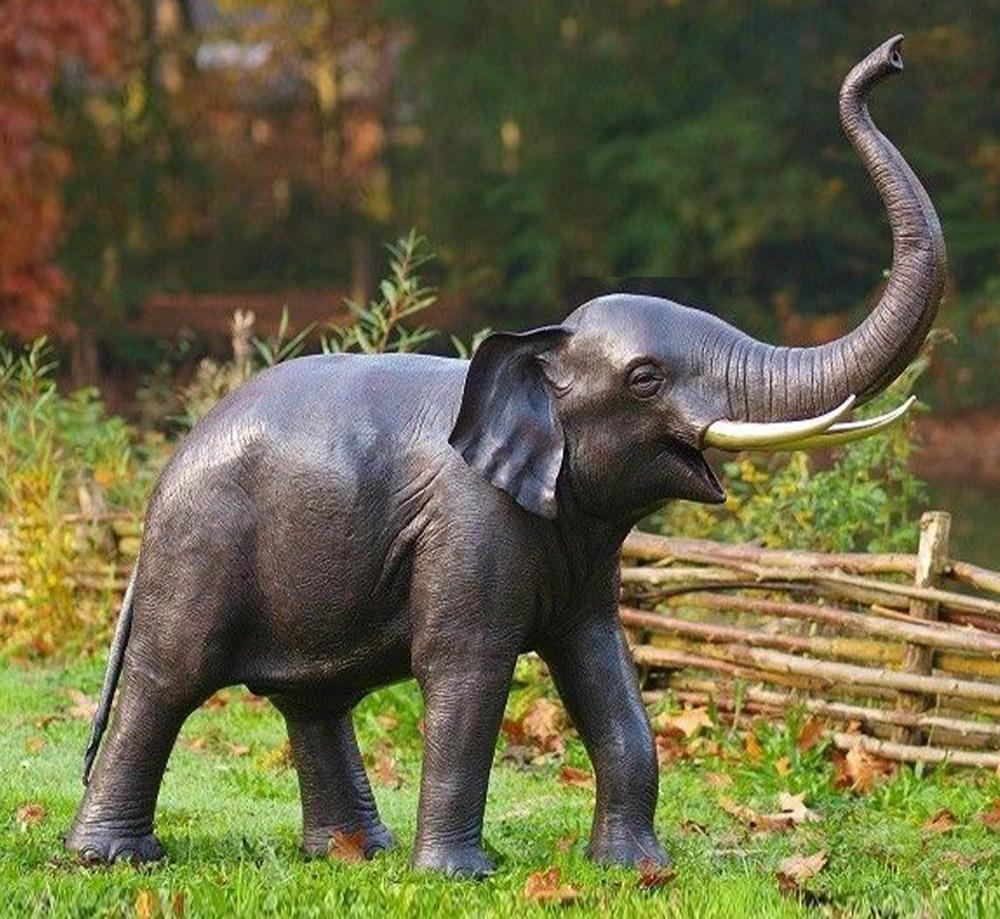 Life Size Garden Outdoor Bronze Elephant Garden Sculpture
