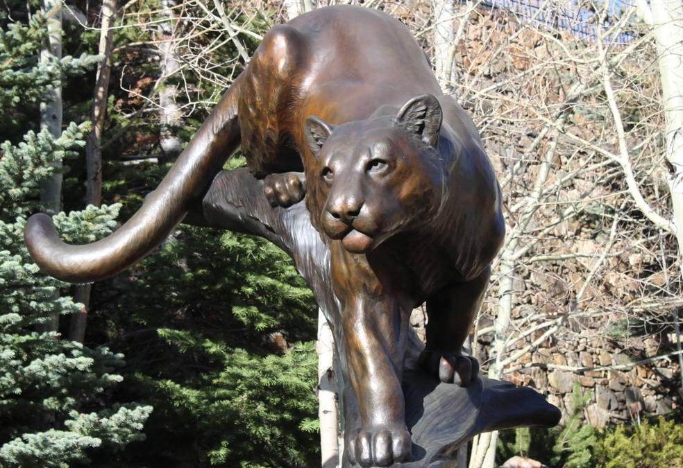 City Park Decoration Life Size Bronze mountain lion Statue