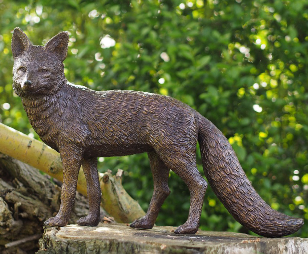 Clever Bronze Outdoor Garden High Quality Fox Sculpture