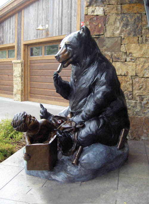 Shop Decorative eating bear and boy bronze statue
