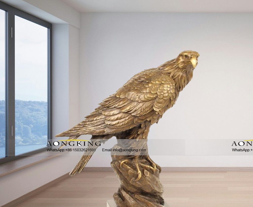 Pride majestic copper powerful brass eagle statue on cliff rock