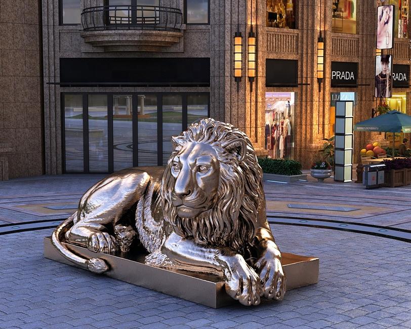Large Outdoor Modern Garden Lying Bronze Sculpture of Lion Statues