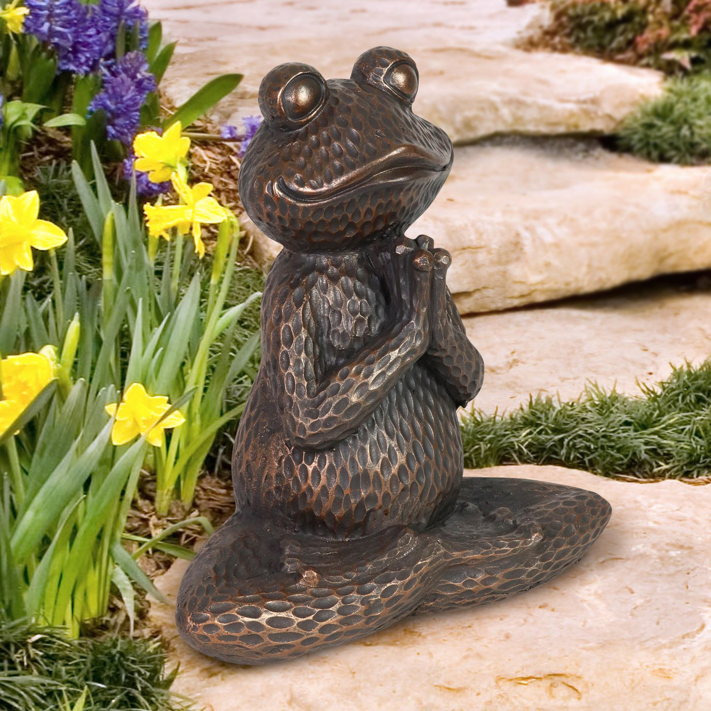 Garden Life Size Sitting Bronze Frog Garden Statue