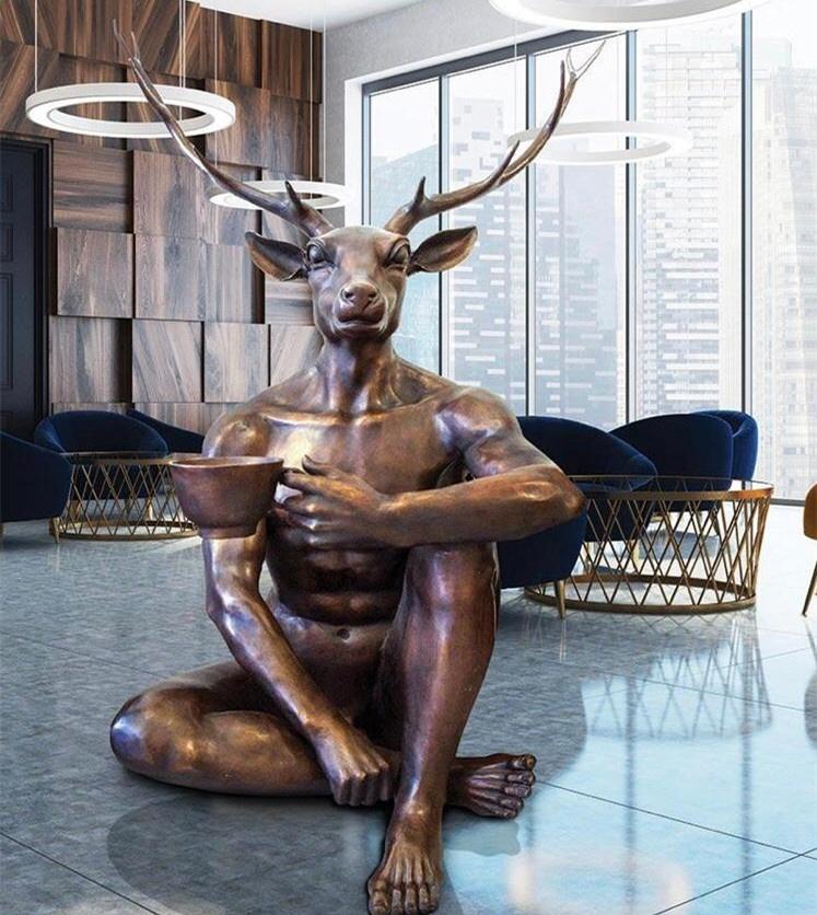 Abstract Decoration Cast Bronze Statues of Indoor Deer Man