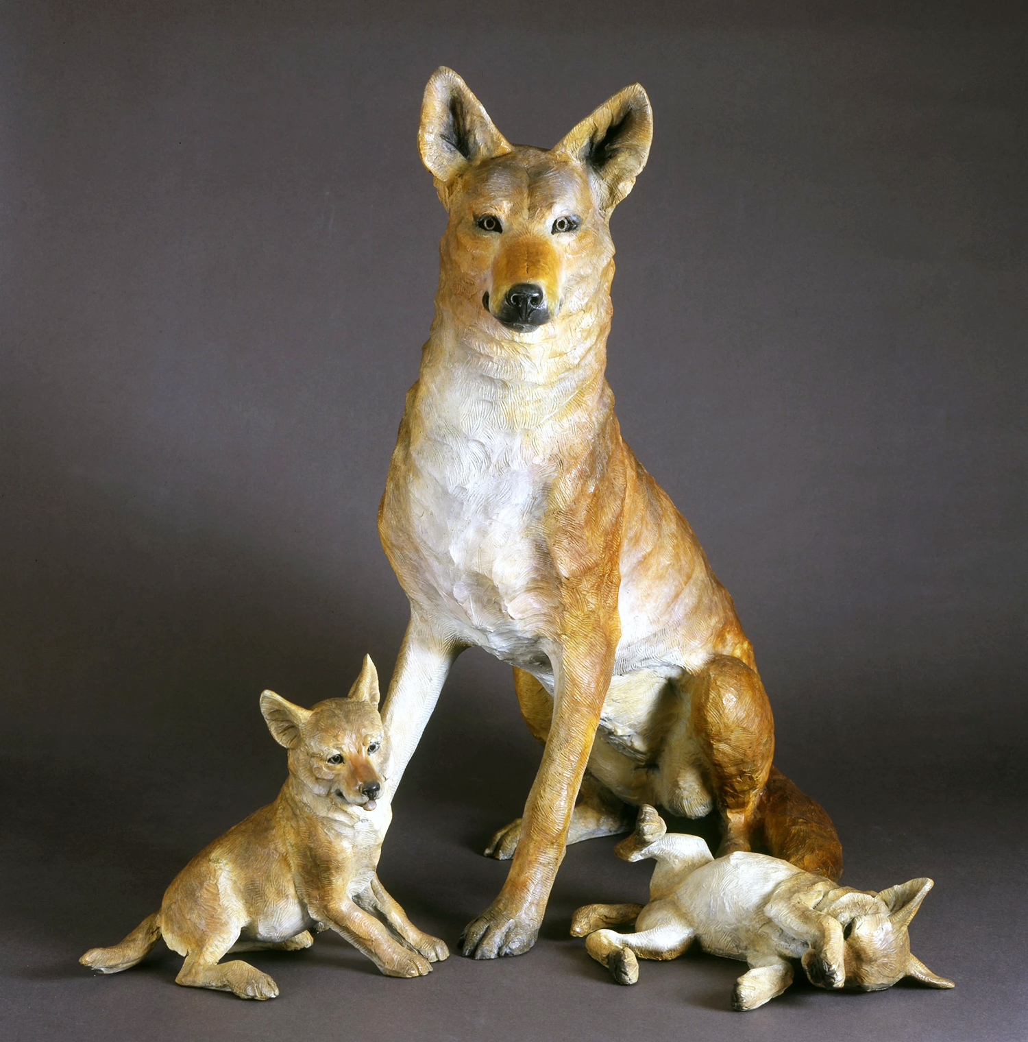 Yard decoration fox and baby bronze sculpture