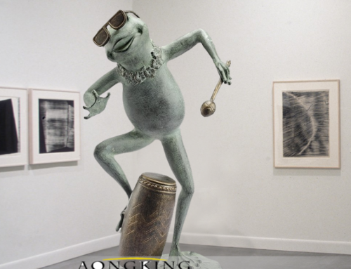 Cartoon Funny frog Bronze statues for outside
