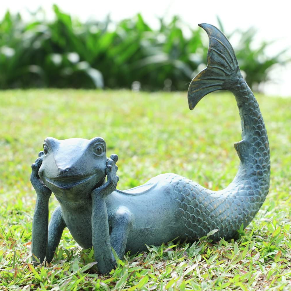 Creative Lawn Ornament Frog with fish tail Bronze statue