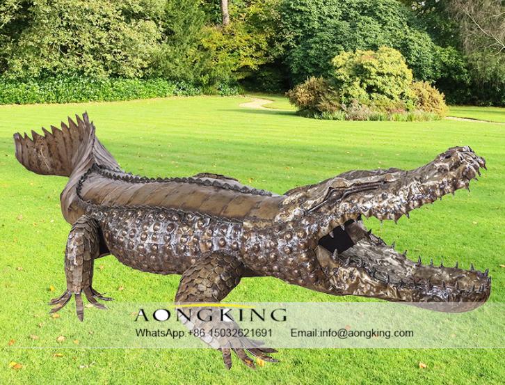 Large Life Size Bronze Open Big Mouth Crocodile Sculpture