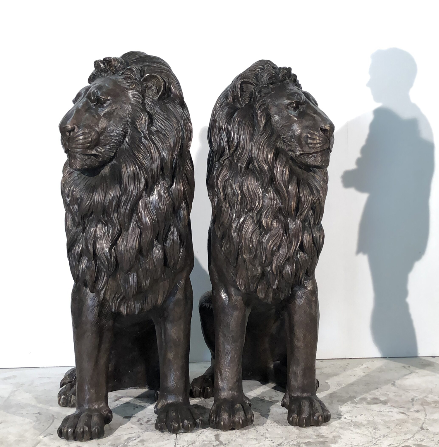 Pair of Gate Decoration Large black sitting lion Bronze statue