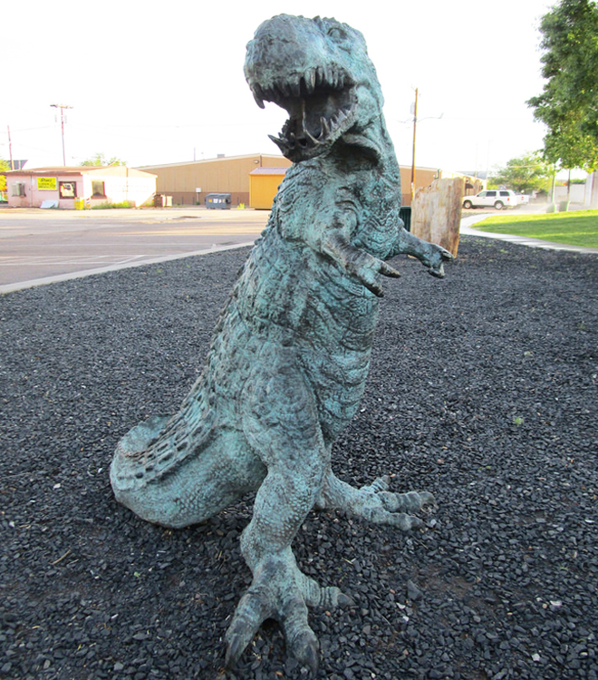 Large Bronze Terrified Opened Big Mouth Dinosaur Lawn ornament