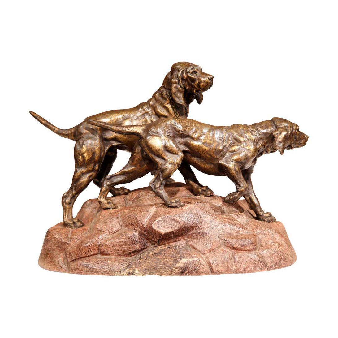 Bronze Life Size Outdoor Garden Hunt Dogs Sculpture for Sale