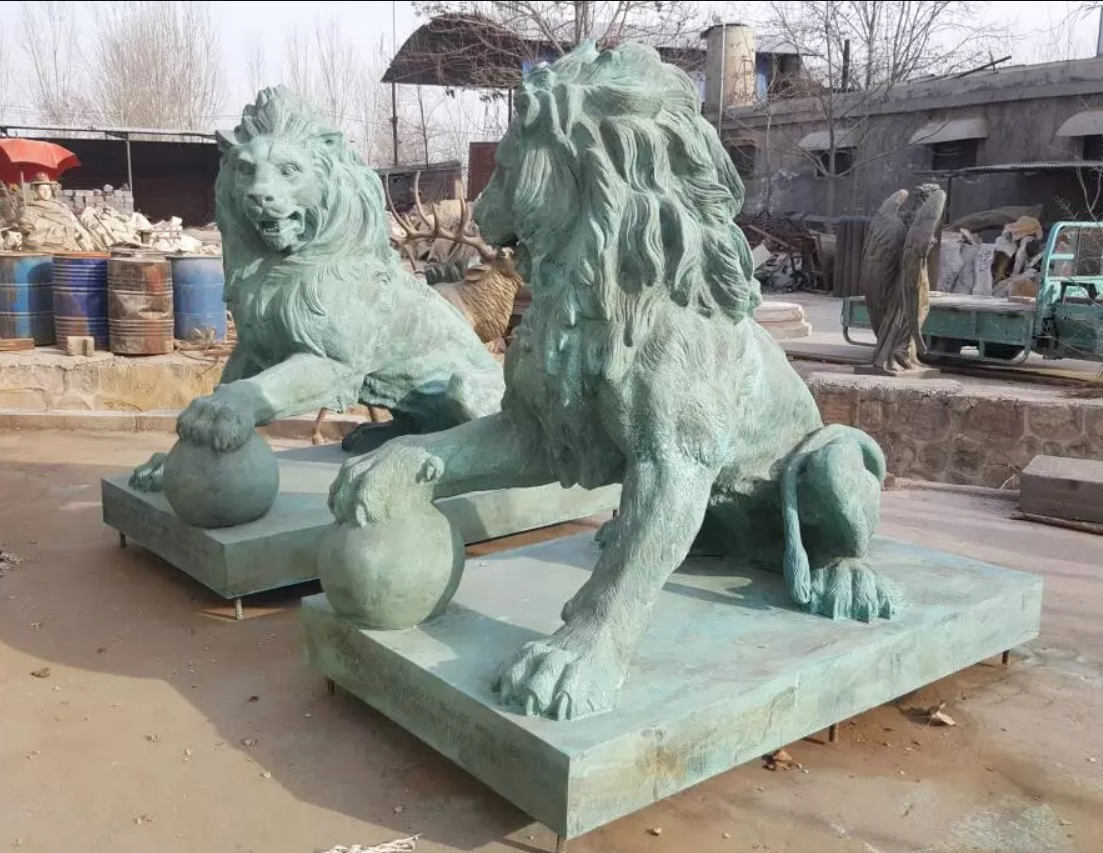 Pair of Guard Lion Marble statues for sale
