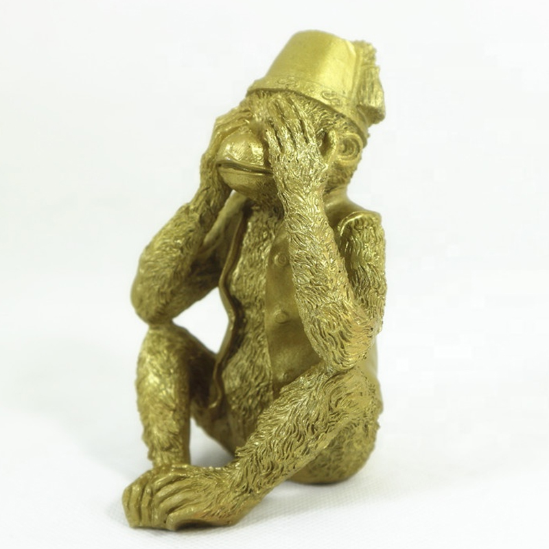 Golden Cute Naughty monkey brass statue For Home decoration