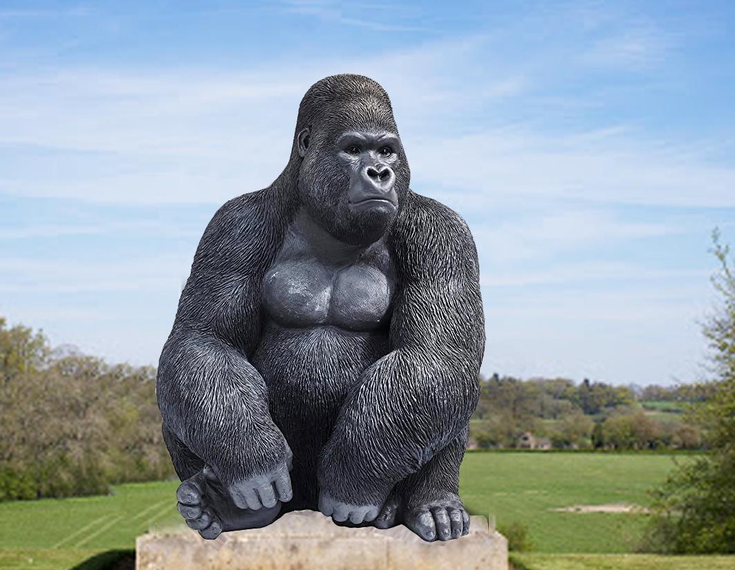Large Life Size Sitting Bronze Outdoor Gorilla Garden Statue